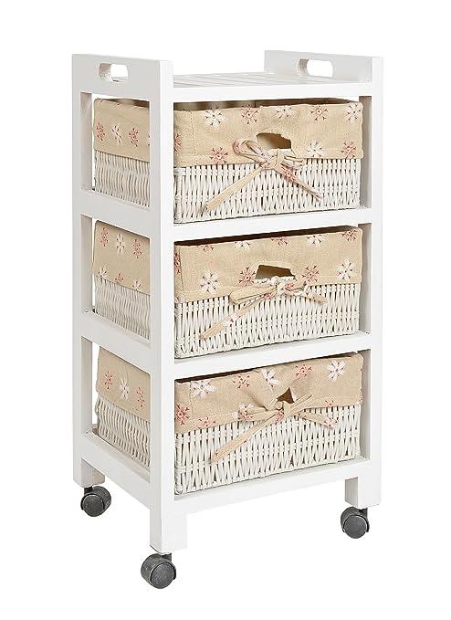 ts-ideen Cómoda estantería estante armario para rodar rollos ruedas en estilo de la alquería