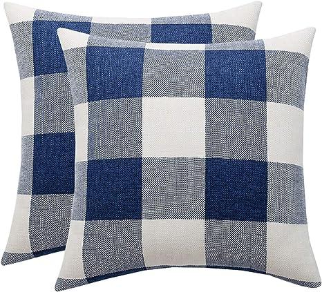"18/"" Fashion Embroidery Check Plaid Pillowcase Home Office Throw Cushion Covers"