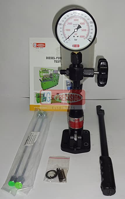 Diesel Injector Nozzle Pop Tester with 0 - 400 BAR / 0 - 6000 PSI Dual  Scale Gauge