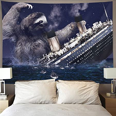 HOMESTORES Funny sloth Nautical Slothzilla on Titanic Wall Tapestry Hippie Art Tapestry Wall Hanging Home Decor