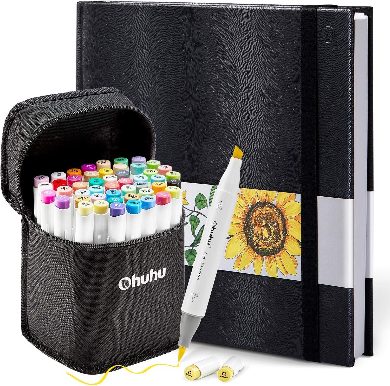 Ohuhu 48 Colors Alcohol Brush Markers (Brush & Chisel, Bonus 1 Colorless Blender) + 8.3