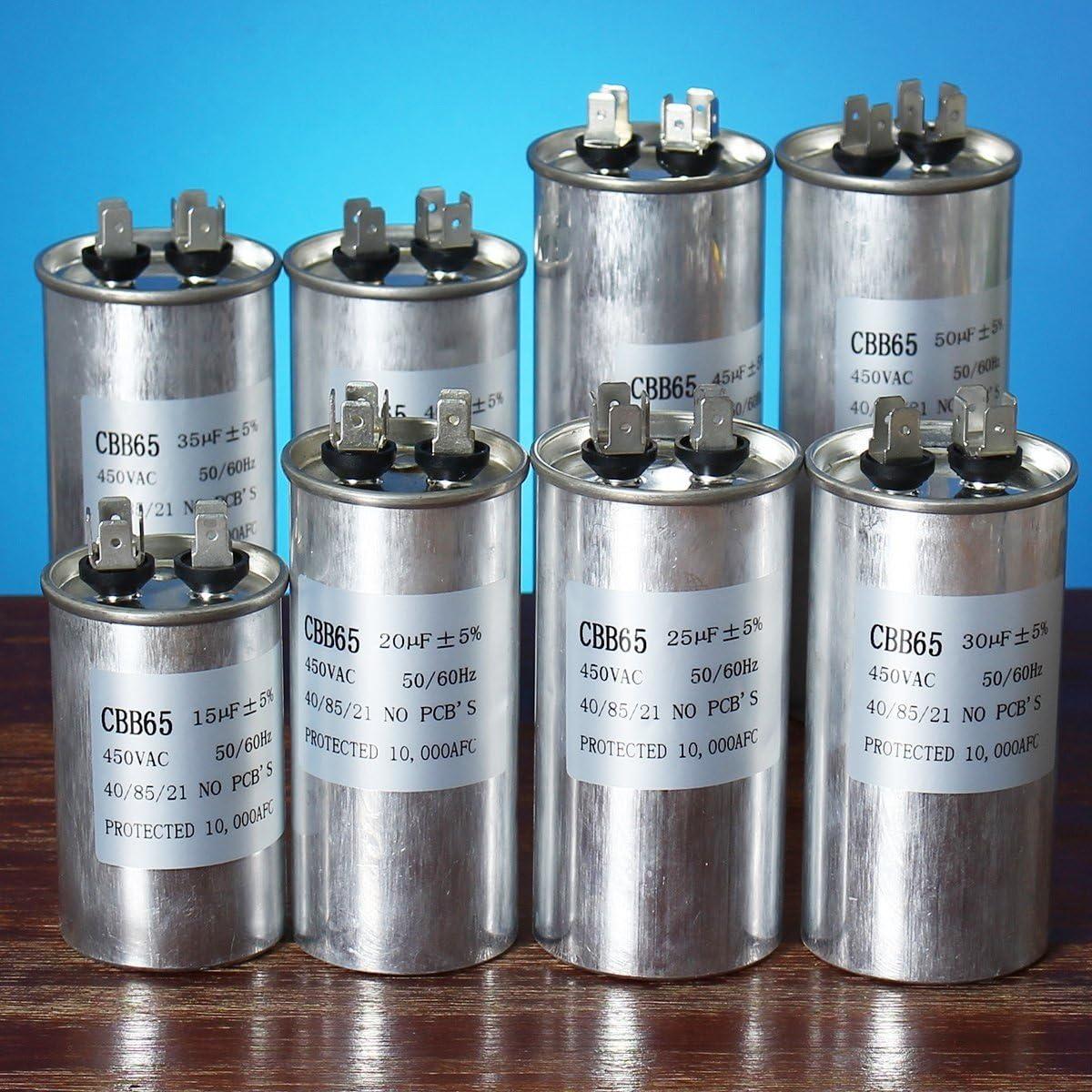 Bluelover 15-50Uf Motor Condensador Cbb65 450Vac Aire Acondicionado Compresor Start Capacitor-E