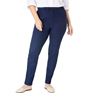 1663dc2dd7e Woman Within Women's Plus Size Straight Leg Fineline Jean at Amazon Women's  Clothing store: