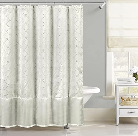 Amazon.com: Faux Silk Fabric Shower Curtain: Metallic Raised Pin ...