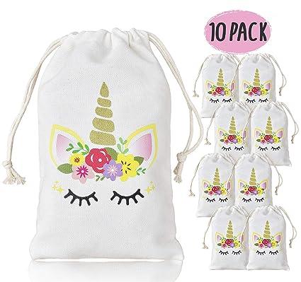 KREATWOW Unicornio para Bolsos de Regalos para niñas de niños, Bolsos con Cordones para la Fiesta de cumpleaños Baby Shower, Paquete de 10