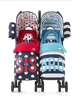 Cosatto Sis N Bro - Silla de paseo gemelar, color azul/rojo