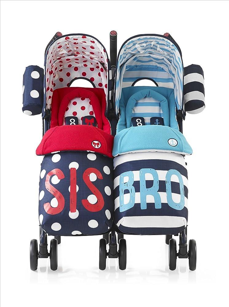 喜劇郵便物舌Feemom(フィーマム) 二人乗りベビーカー 座り/立ち変形自由 最大6歳まで使用可能 双子ベビーカー 立ちタイプ リクライニング機能付き 折り畳み簡単 1ヶ月~72ヶ月頃対象 (ネイビー)