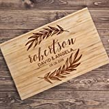 Lily's Atelier Custom Engraved Cutting Board - Wedding, Anniversary, Housewarming, Birthday, Corporate Gift and for Awards - Customizable, Personalized Date, Name and Last Name - LACB_T2_D11