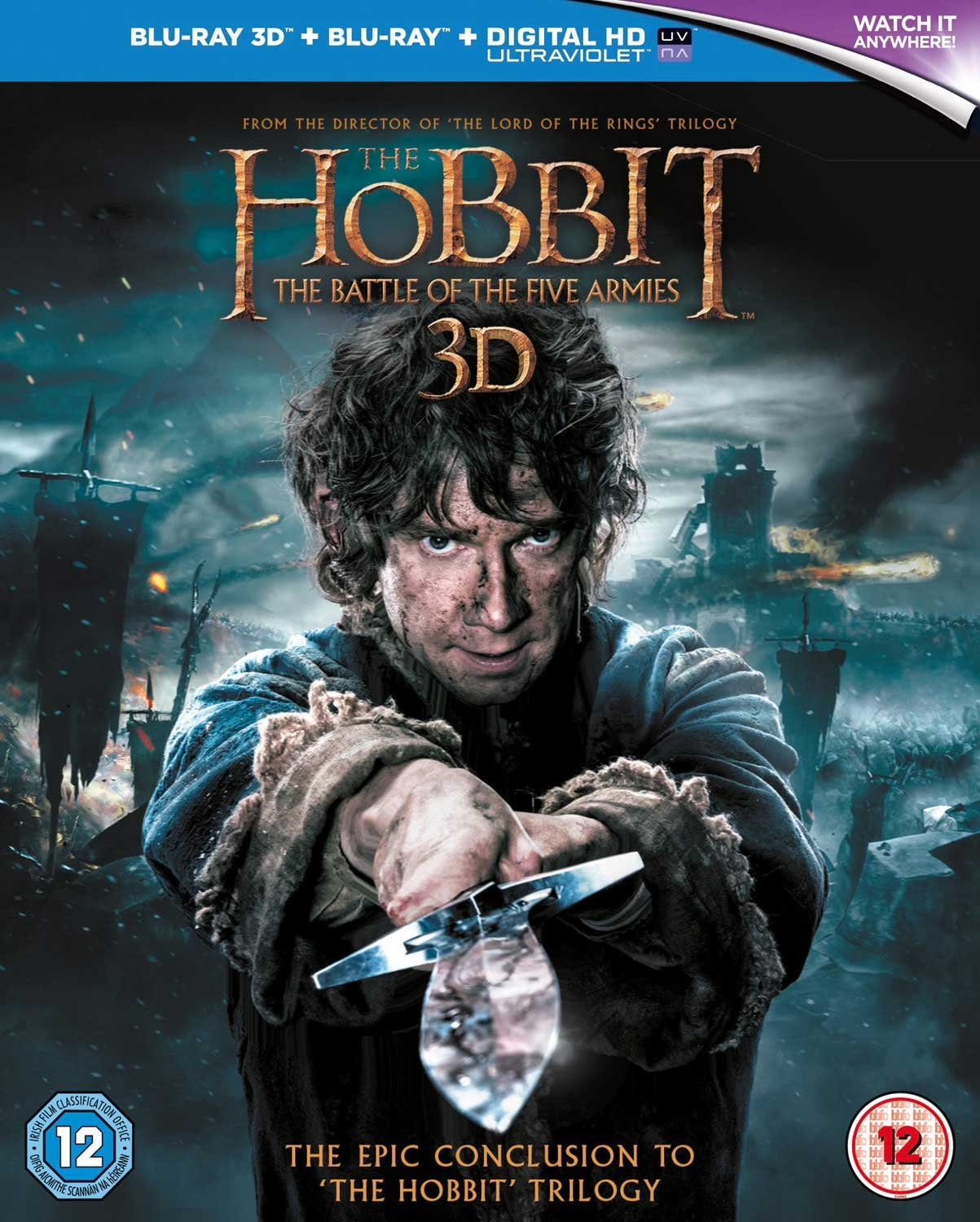 The Hobbit: The Battle of the Five Armies [Blu-ray 3D + Blu-ray] [2015] Martin Freeman Richard Armitage Peter Jackson MSE1295117