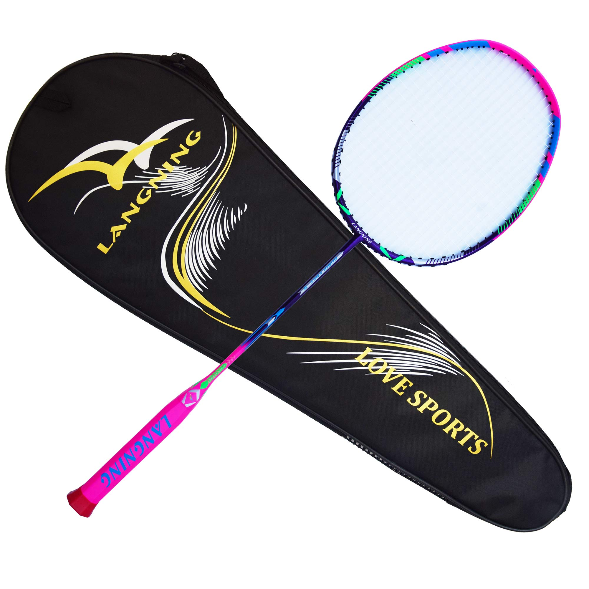 Badminton Racquet Light Racket Set Carbon Fiber 7u Best Tournament Single Shuttle Bat Carrying Bag - 68g