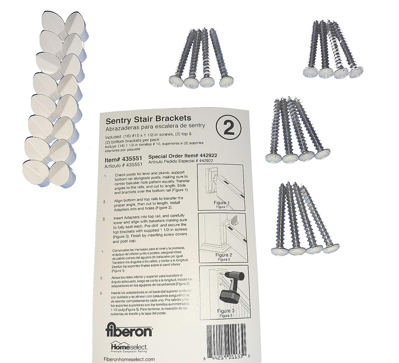 Amazon com: Fiberon 2-Pair White Sentry Stair Brackets for
