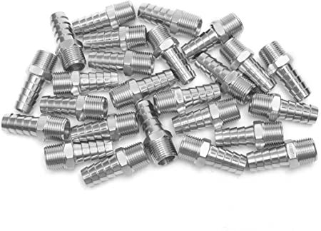 Pack of 5 LTWFITTING Bar Production Stainless Steel 316 Barb Fitting Coupler//Connector 1//8 Hose ID x 1//8 Male NPT Air Fuel Water