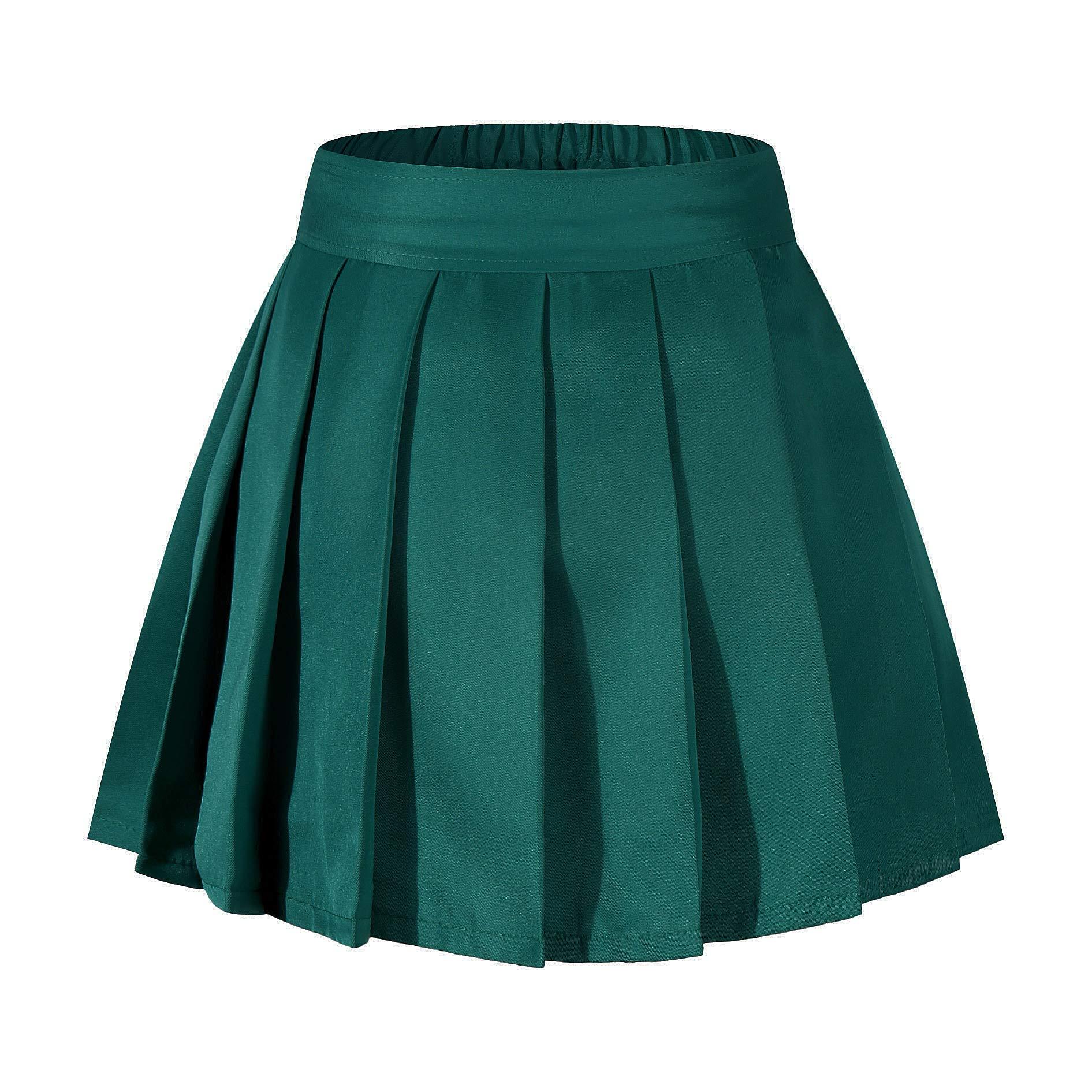 Girl's Pleated Mid A Line Street Skirt Skater Pleated Full Midi Skirt Dark Green,S