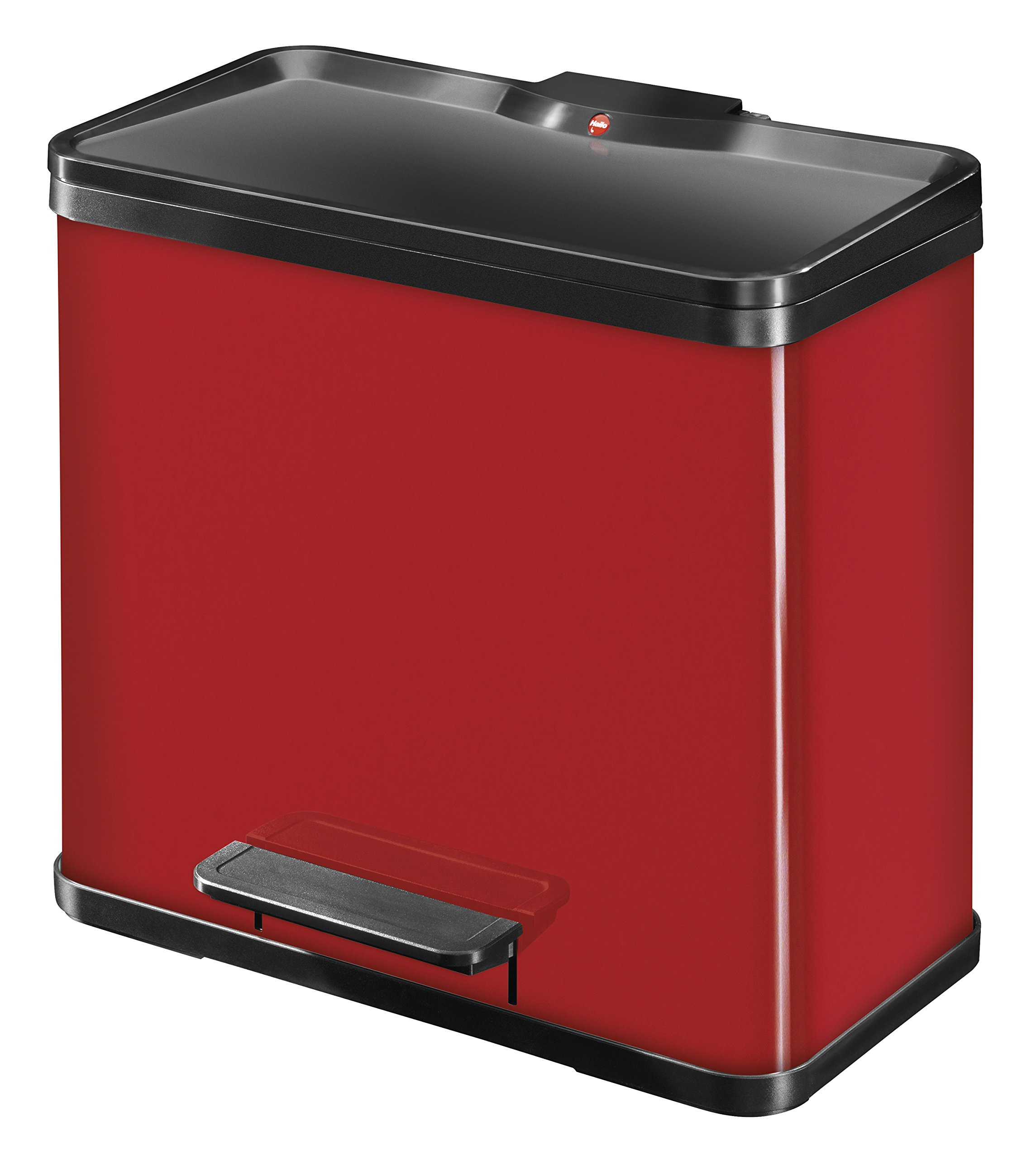 Hailo 0630-240''Oeko Duo Plus L Pedal Waste Separator, Sheet Steel Red, 17-9 Litre by Hailo