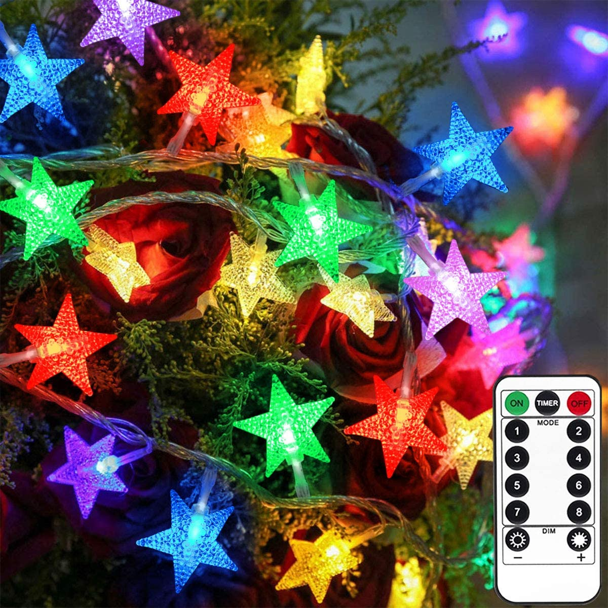 Homeleo 12.12 Ft 12 Led Color Changing String Lights, Battery Powered Star  Fairy Lights with Timer Remote, Indoor Outdoor Christmas Lights for Bedroom  ...