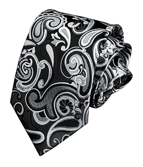 994a7b95b16d Men's Big Boys Silk Ties Skinny Silver Grey Formal Business Necktie  Collections