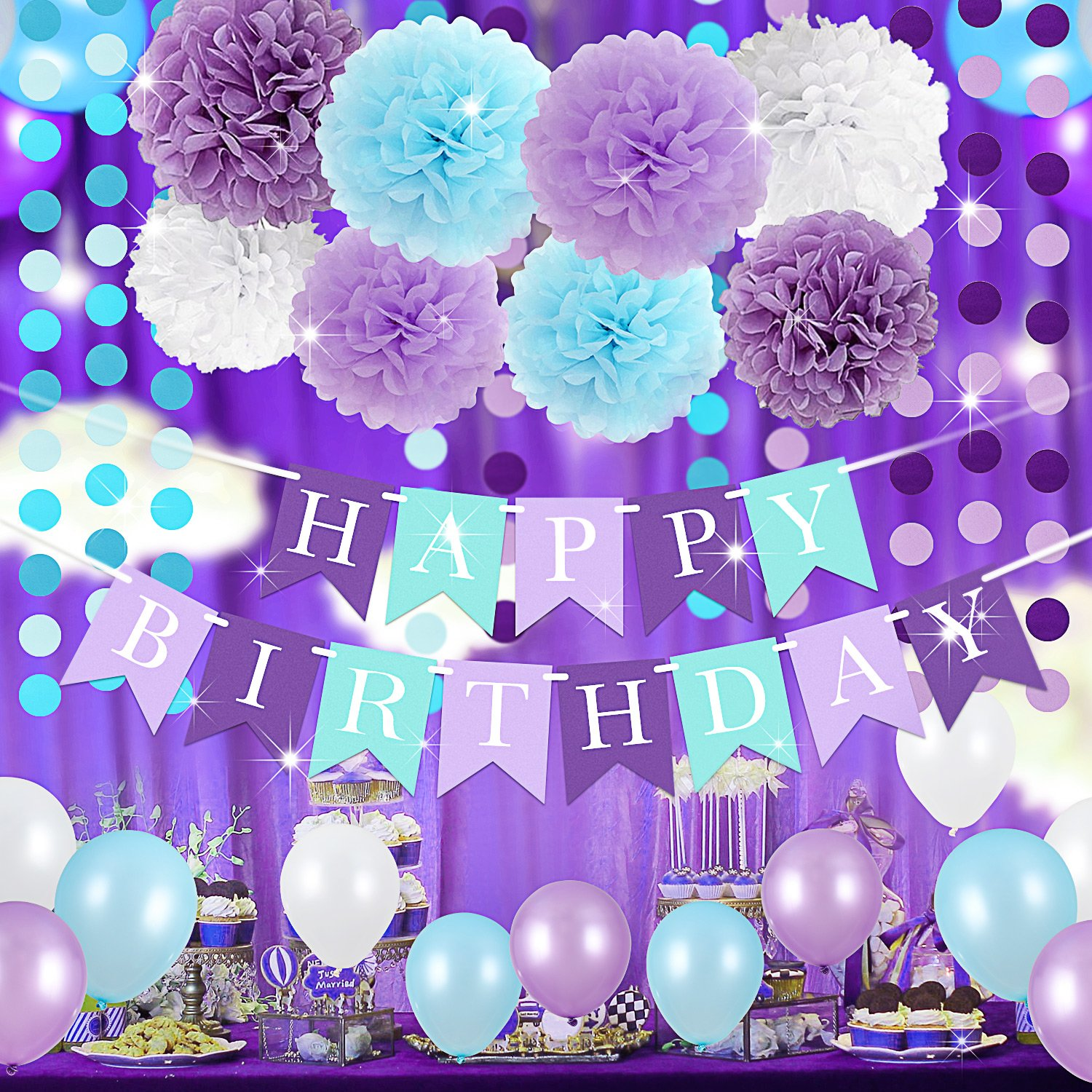 Mermaid Birthday Party Supplies Under The Sea Party Supplies Purple Blue White Mermaid Birthday Banner Pom Poms Balloons Baby Shower Purple Mermaid Party Decorations Bridal Shower Decor