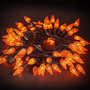 Twinkle Star C6 Halloween String Lights, 100 LED 33ft Fairy Lights with 29V Safe Adaptor, Indoor Outdoor Black Wire Light 8 Lighting Modes with Memory Function for Patio Xmas Tree Party Decor, Orange