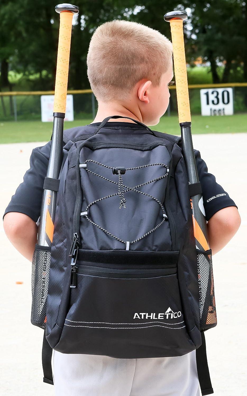 Glove Helmet Holds Bat Backpack for Baseball Fence Hook T-Ball /& Softball Equipment /& Gear for Boys /& Girls Athletico Youth Baseball Bat Bag