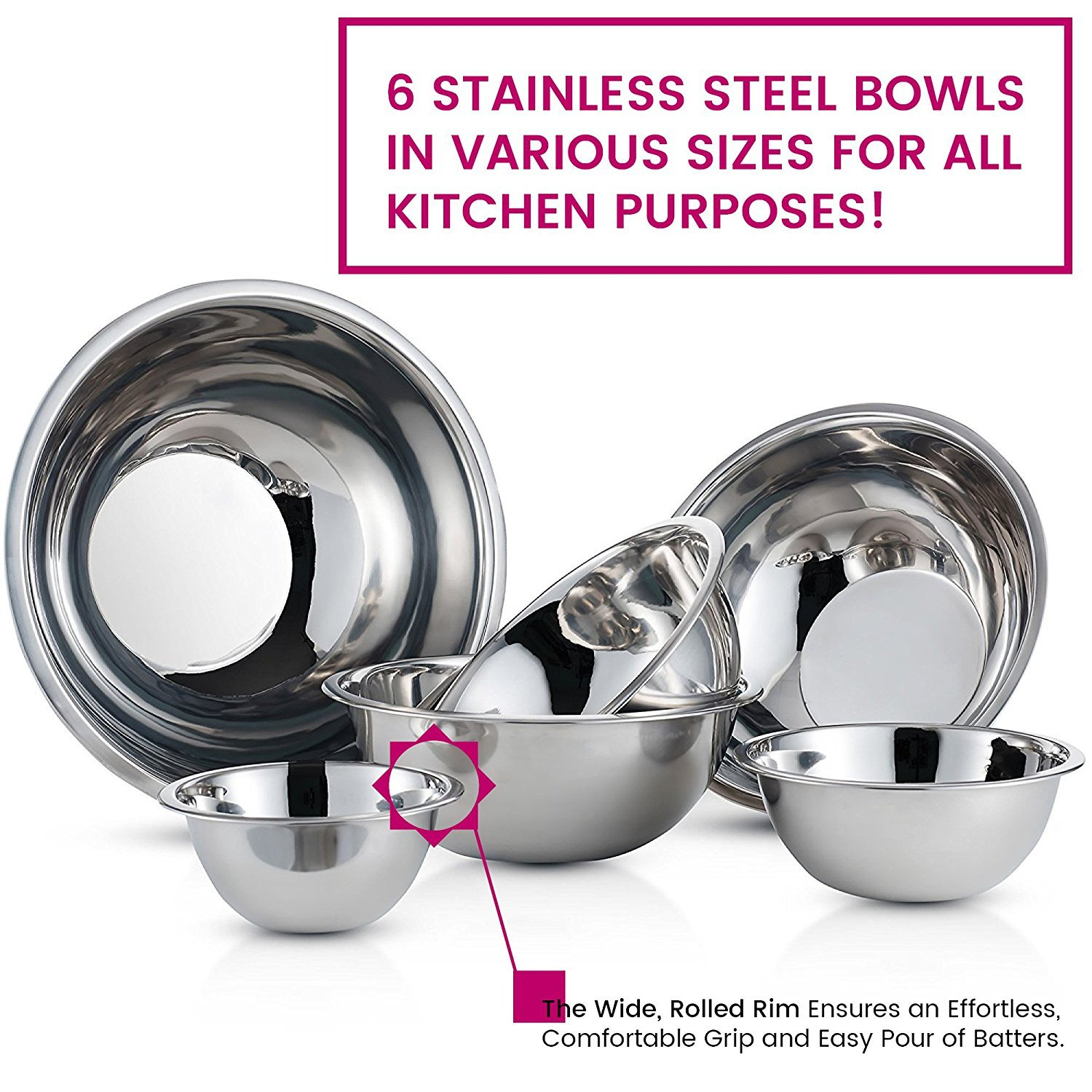 Stainless Steel Mixing Bowls by Finedine (Set of 6) Polished Mirror Finish Nesting Bowl, ¾ - 1.5-3 - 4-5 - 8 Quart - Cooking Supplies by FINEDINE (Image #4)