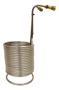 "NY Brew Supply Stainless Wort Chiller with Garden Hose Fittings, 1/2"" x 50', Silver"