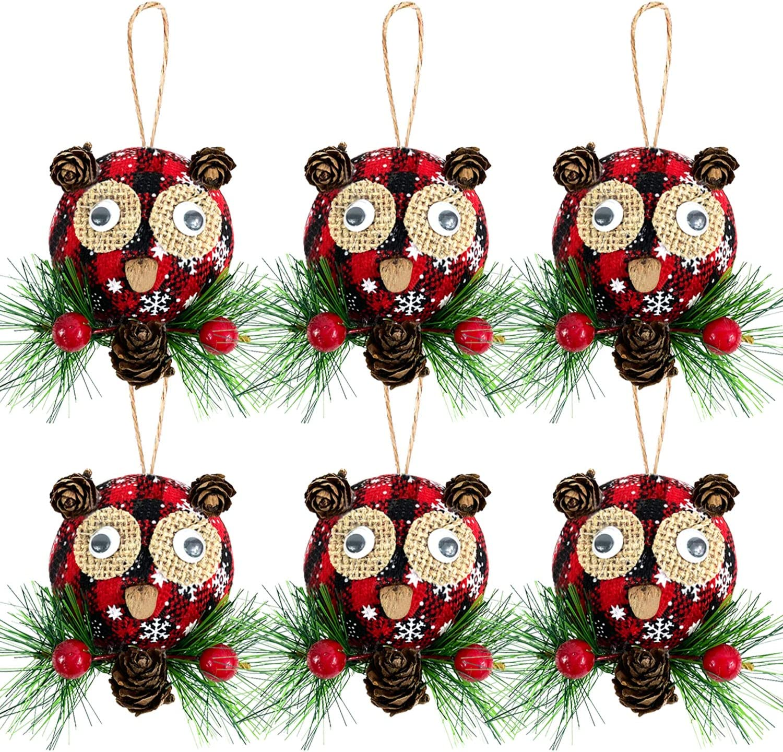 Iceyyyy 6Pcs Christmas Plaid Ball Ornaments - 3 Inch Owl Design Black & Red Buffalo Plaid Fabric Ball Ornaments, Plaid Christmas Tree Hanging Ball Ornaments