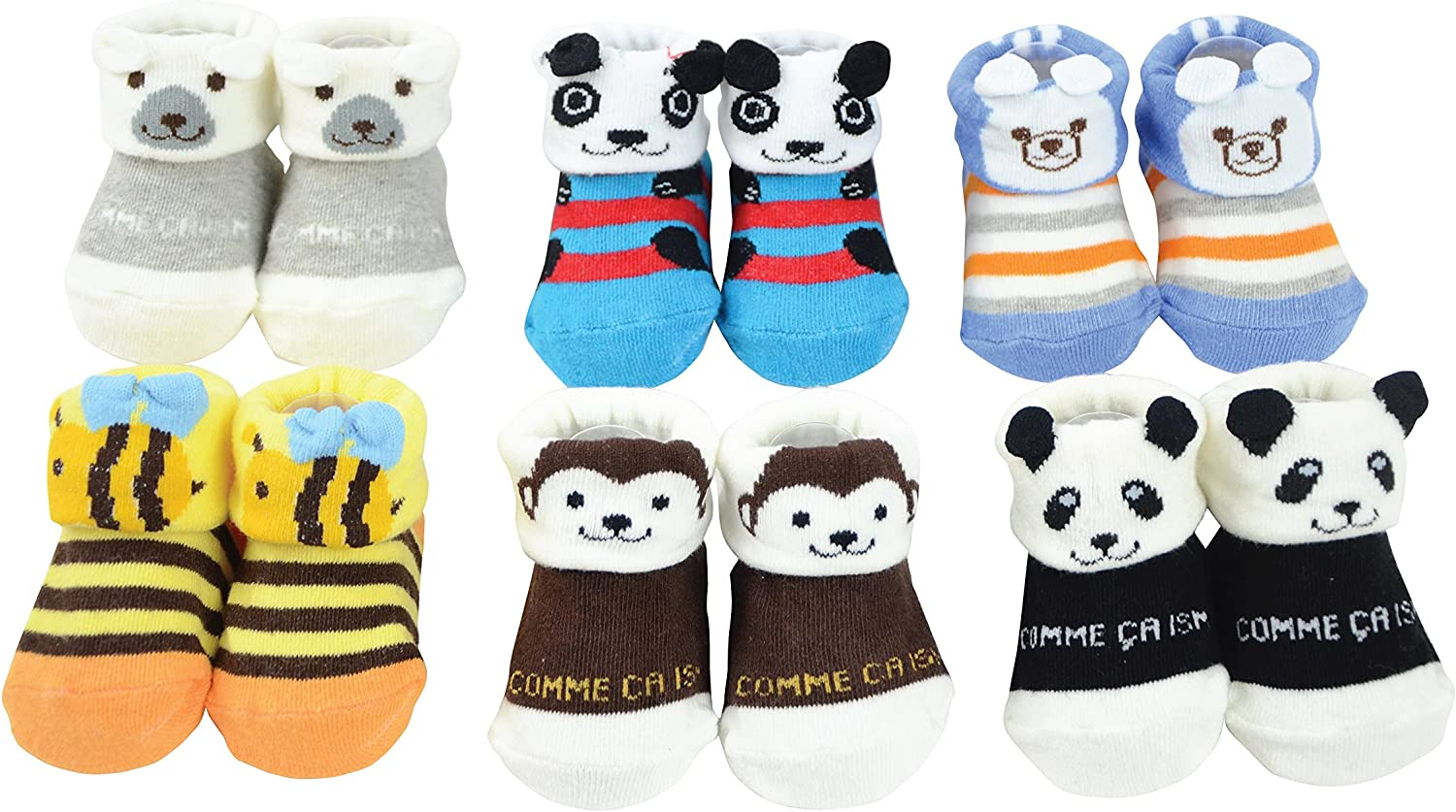 6 Pairs Infant Newborn Toddler Baby Low Cut Cute 3D Cartoon Anti-Skid Booties Sock Slippers