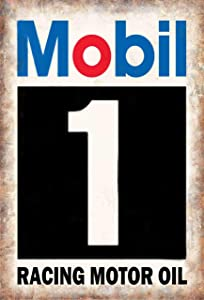 PEI's Mobil 1 Racing Motor Oil Retro Vintage Tin Metal Sign Wall Decor for Home Garage Bar Man Cave, 8x12 inch/20x30cm