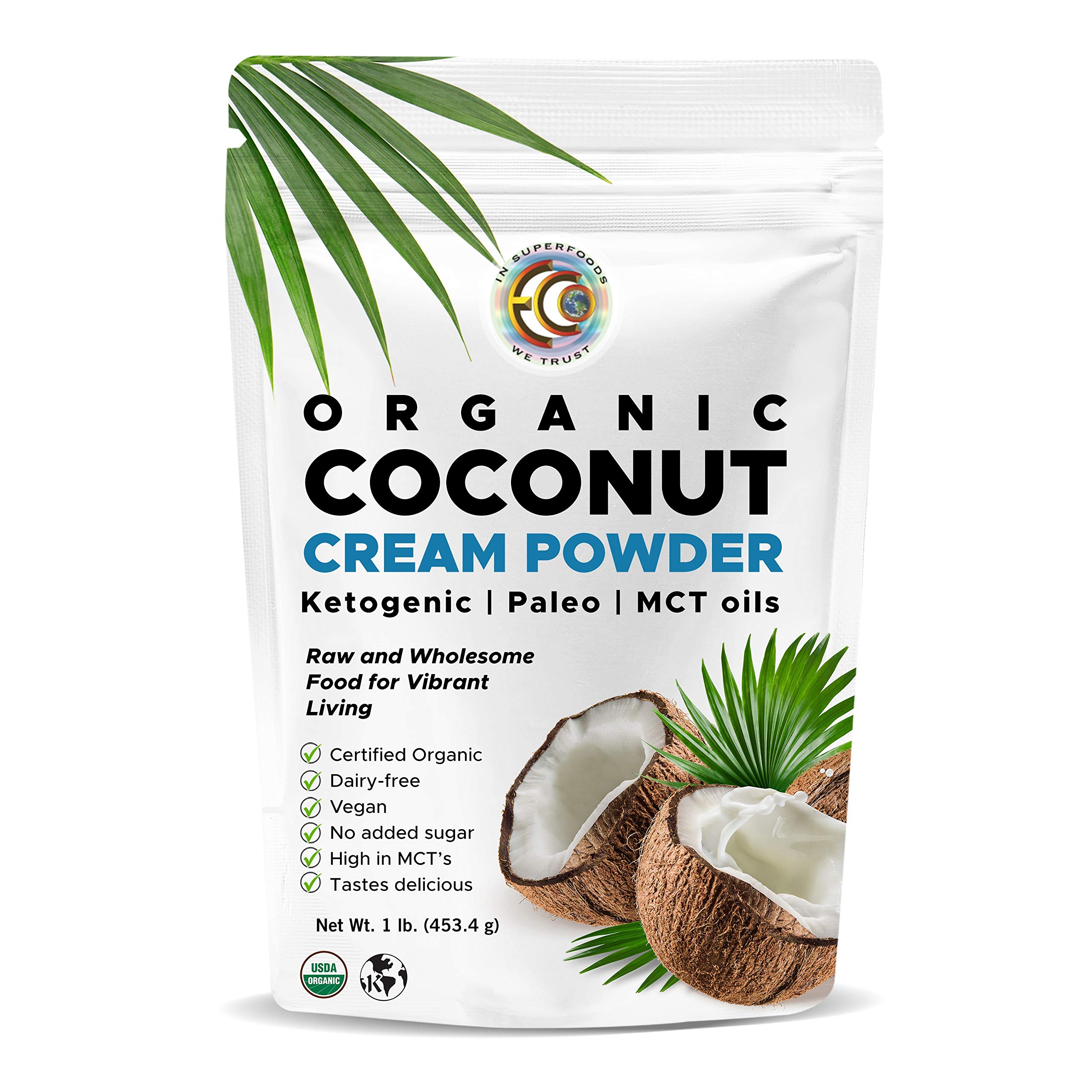 Earth Circle Organics - Organic Coconut Cream | Milk Powder, Perfect Keto Coffee Creamer - High in MCT Oil, Vegan, No Added Sugar, Vegan, Gluten and Dairy Free - 1 Pound1 Pound by Earth Circle Organics