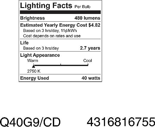 GE Lighting 16755 40-Watt Halogen Low Voltage Lighting G9 Light Bulb, 1-Pack - - Amazon.com