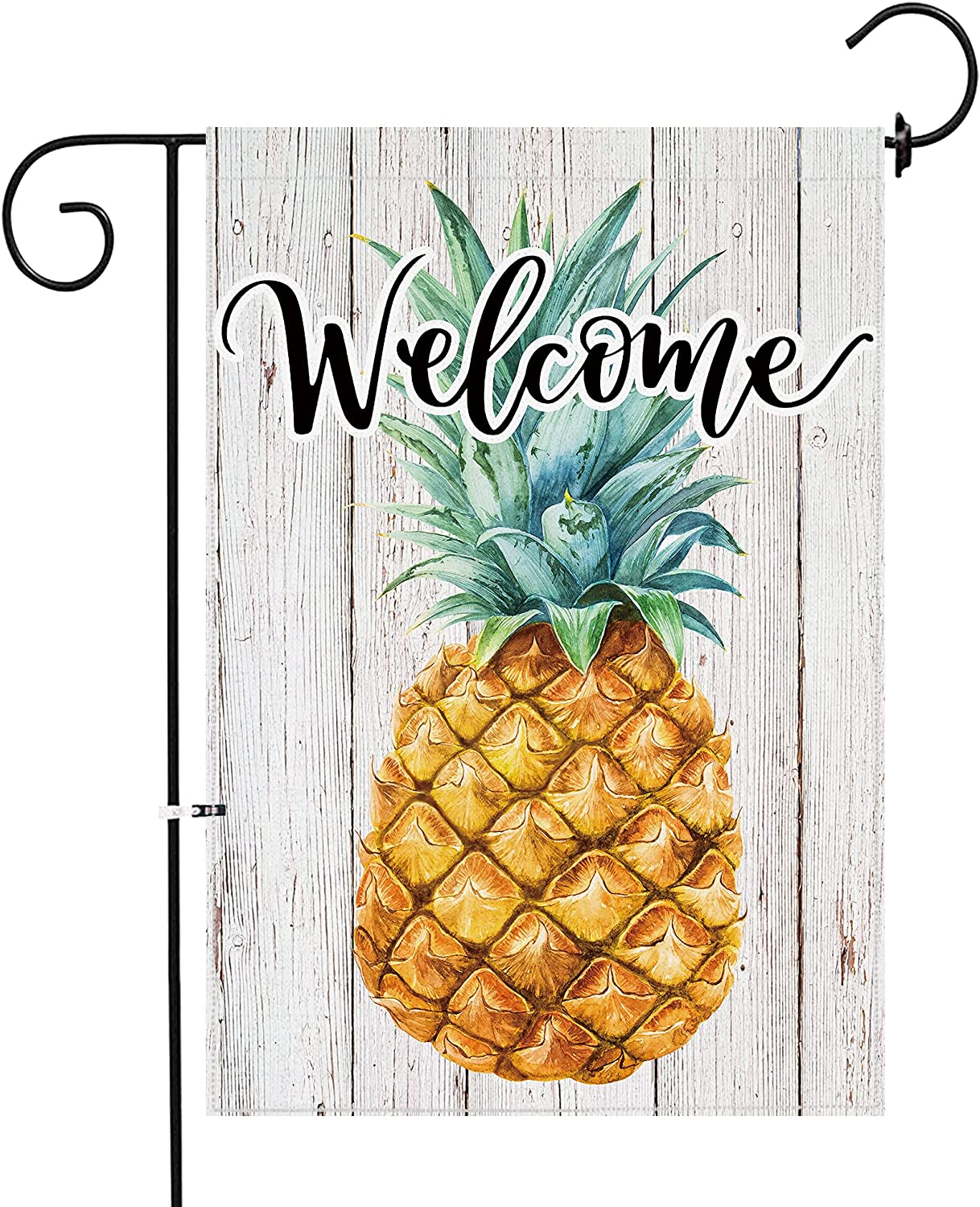 pinata Summer Garden Flag Pineapple Welcome 12x18 Double Sided, Small Yard Flags Beach House Seasonal Outdoor Decorative Burlap Vertical Sign Holiday Wood Grain Decoration for Home Lawn Outside Banner