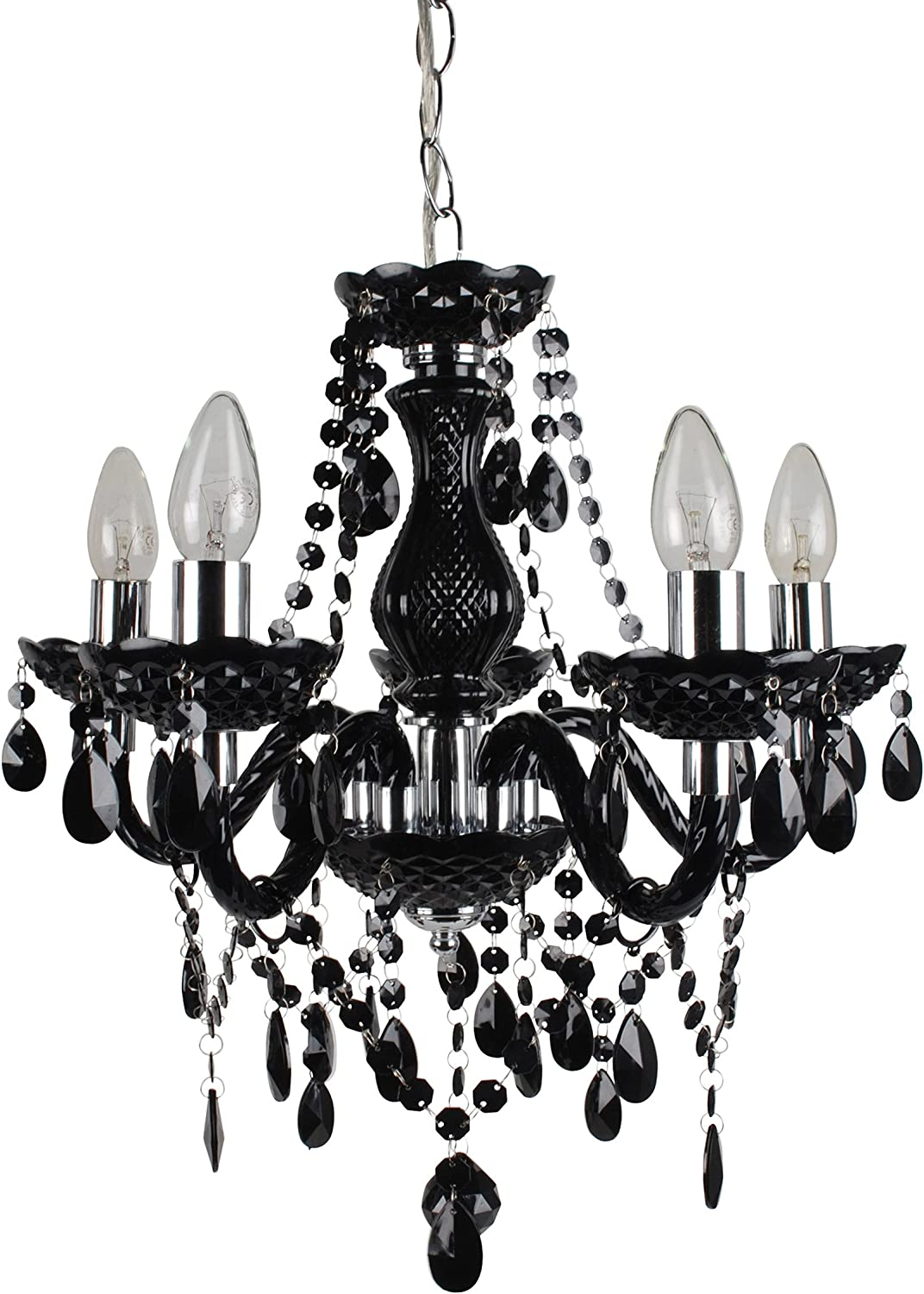 5 Light Ceiling Pendant Chandelier Black and Chrome Marie Therese