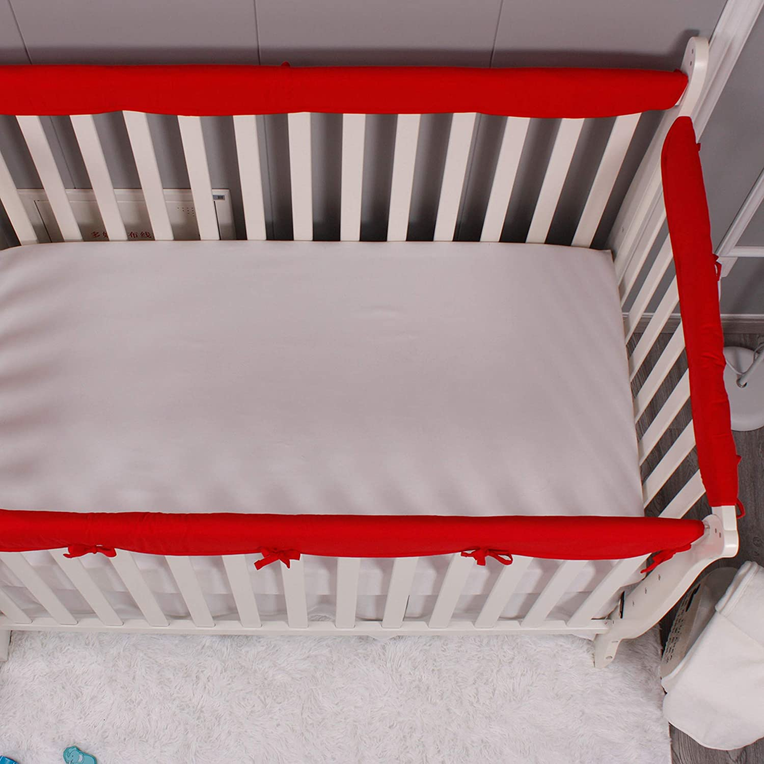 Reversible Colors Blue /& White Soft Padded Breathable Crib Teething Guard and Protector for Baby Boys Girls Belsden 4 Pack Safe Crib Rail Cover Set for Entire Crib Rails