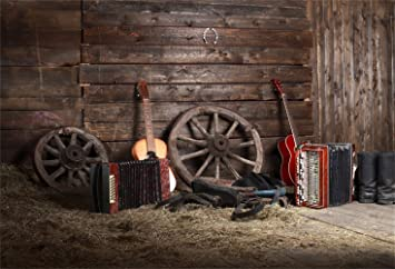 Laeacco Barn Backdrop 7x5ft Vinyl Photography Background Country Music Band Concert Scene Backdrop Wheel Guitar Accordion Farm Country Village Rustic Rural Theme Background Country Singer Photoshoot Camera Photo
