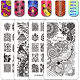 Ejiubas Double-sided Henna Egypt Floral Nail Stamping Plates Nail Art Designs Manicure Set 2 Pcs