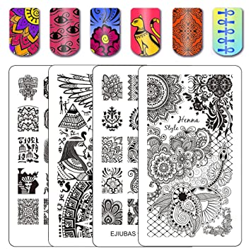 Amazon Ejiubas Double Sided Henna Egypt Floral Nail Stamping