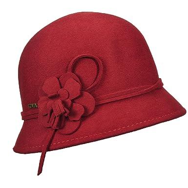 62b8c41d SCALA Wool Felt Cloche with Flowers HAT (Cinnamon) at Amazon Women's  Clothing store: