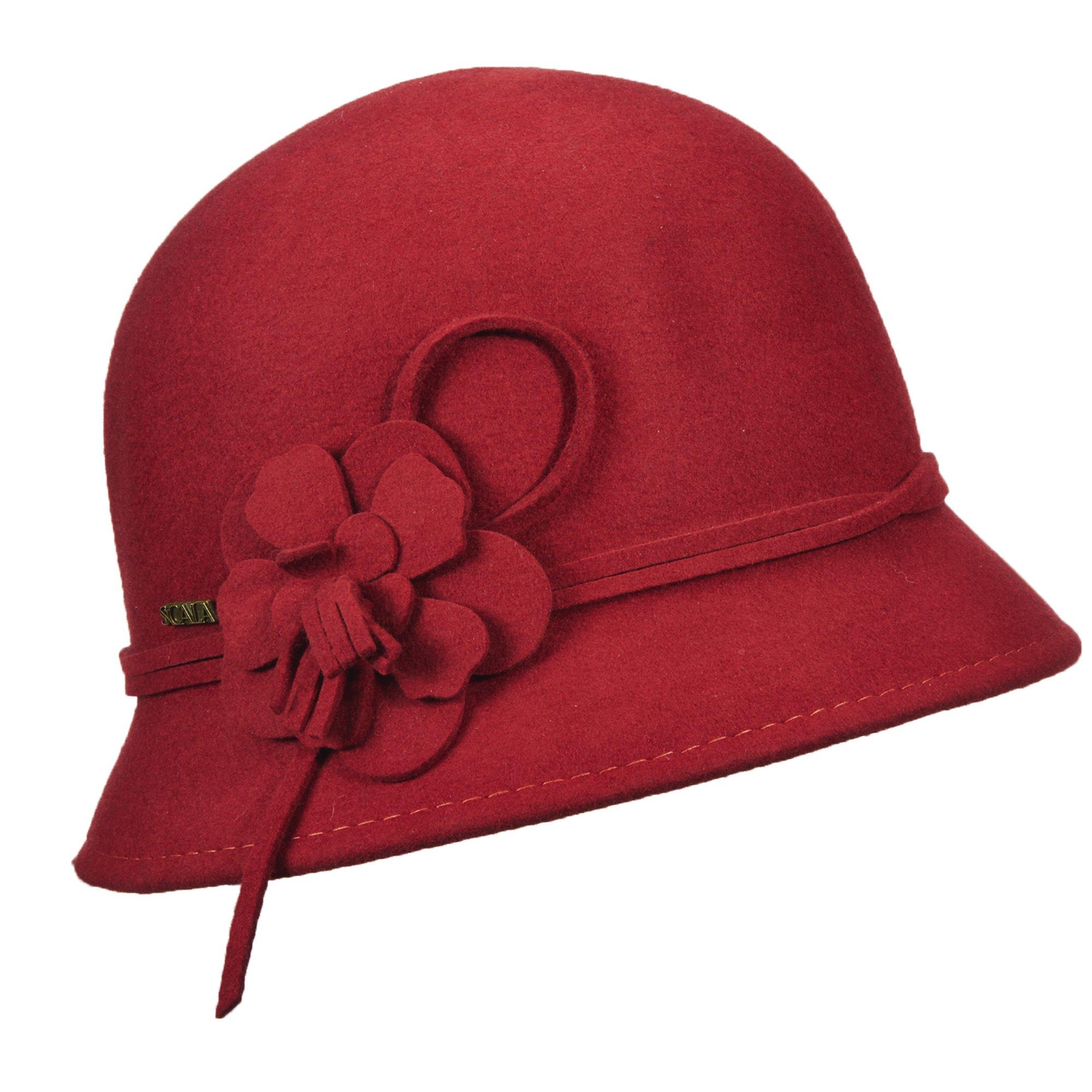 SCALA Wool Felt Cloche with Flowers HAT (Cinnamon)