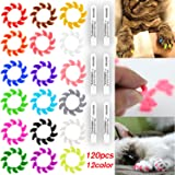 120Pcs(12Color) Cat Claw Caps Soft Rubber Pet Paws Nail Grooming Cover + 6 Pcs Adhesive Glue
