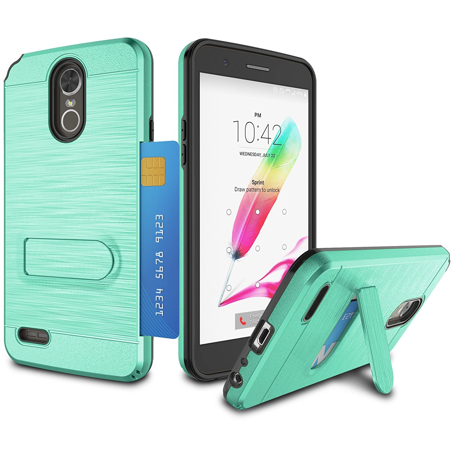 LG Stylo 3 Case, LG Stylo 3 Plus Case, Jeylly Card Solt Holder with  Kickstand Hybrid Dual Layer Hard Plastic + Soft TPU Drop Protection Case  Cover for