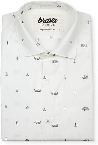 Brava Fabrics   Camisa Hombre Manga Larga Estampada   Camisa Blanca para Hombre   Camisa Casual Regular Fit   100% Algodón   Modelo Outdoor Getaway   Talla L: Amazon.es: Ropa y accesorios