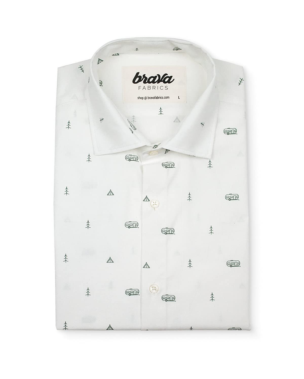 Brava Fabrics - Camisa Hombre Manga Larga Estampada - Camisa Beige para Hombre - Camisa Casual Regular Fit - 100% Algodón - Modelo Outdoor Getaway