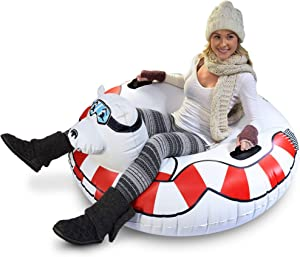 GoFloats Winter Snow Tube - Inflatable Sled for Kids and Adults (Choose from Unicorn, Ice Dragon, Polar Bear, Penguin, Flamingo)