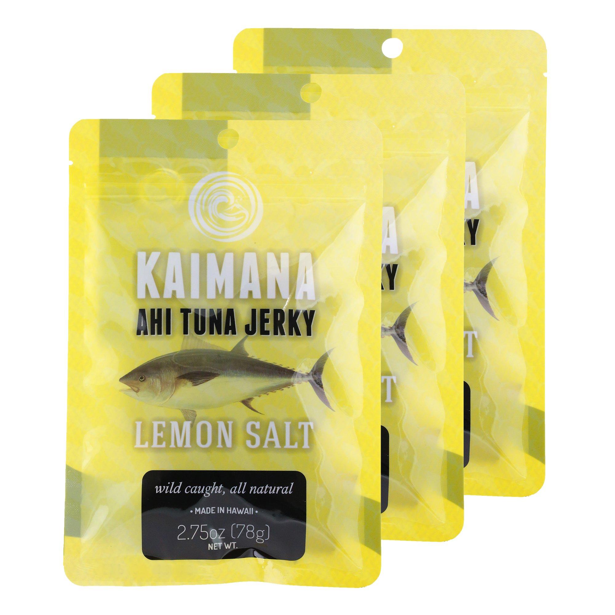 Kaimana Jerky - Lemon Salt Ahi Tuna Jerky 3 Pack - Premium Fish Jerky Made in the USA. All Natural and Wild Caught.