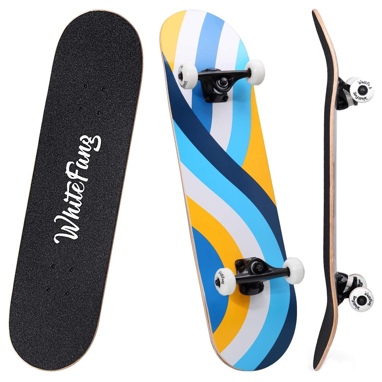 WhiteFang Skateboards 31 Complete Skateboard Double Kick Skate Board 7 Layer Canadian Maple Deck Skateboard for Kids and Beginners