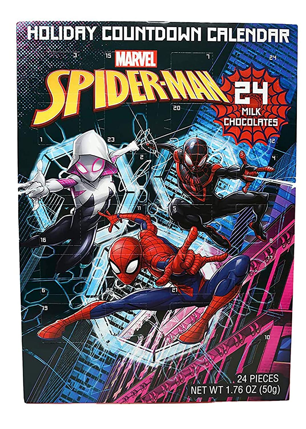 Marvel Spiderman Chocolate Advent Calendar with 24 Milk Chocolates for Holiday Countdown