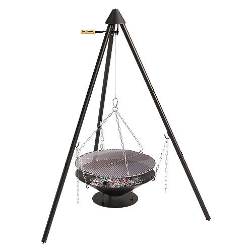 barbecook Holzkohle Schwenkgrill mit Dreibein-Gestell höhen-verstellbar inklusive Feuerschale und Tragetasche schwarz 61x61x225 cm