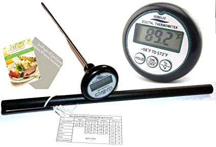 Digital Cooking Thermometer Long 8 Probe Great for Checking Temperature of Food Meat Candy and Liquid - Good for BBQ Grilling Smoker Oven or Deep Frying - Comes with Handy Meat Temp Chart PLUS 2 Free BBQ eBooks and Hard Case - No Hassle Guarantee