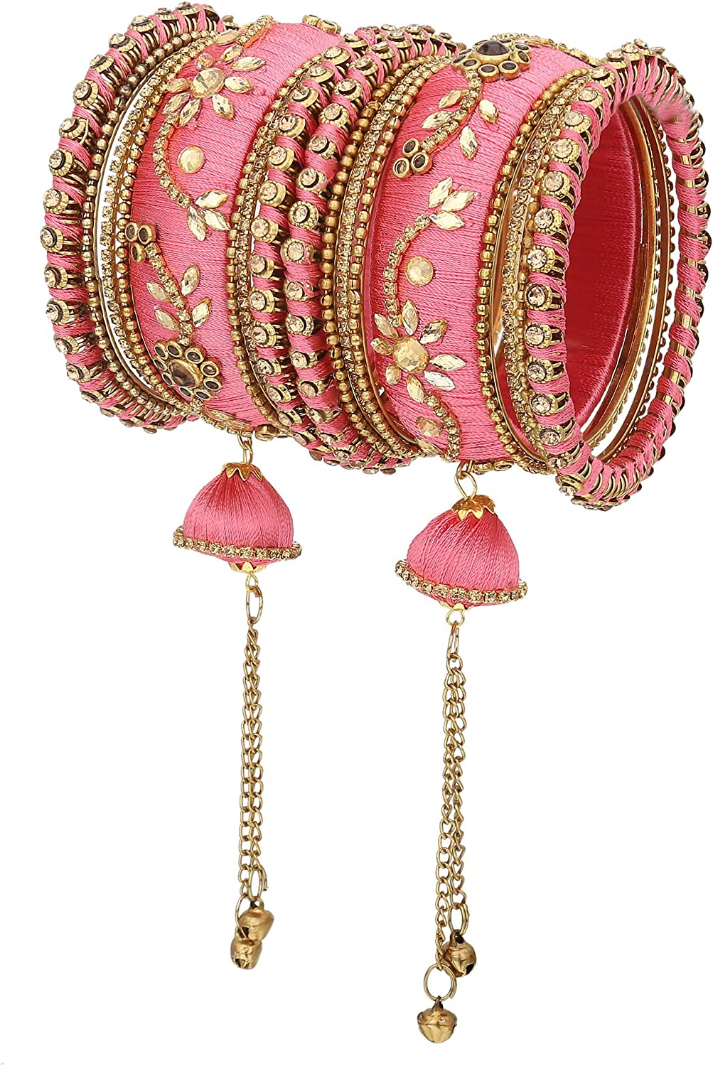 Bollywood fashion silky thready necklace and jhumki and Bangles 2-4