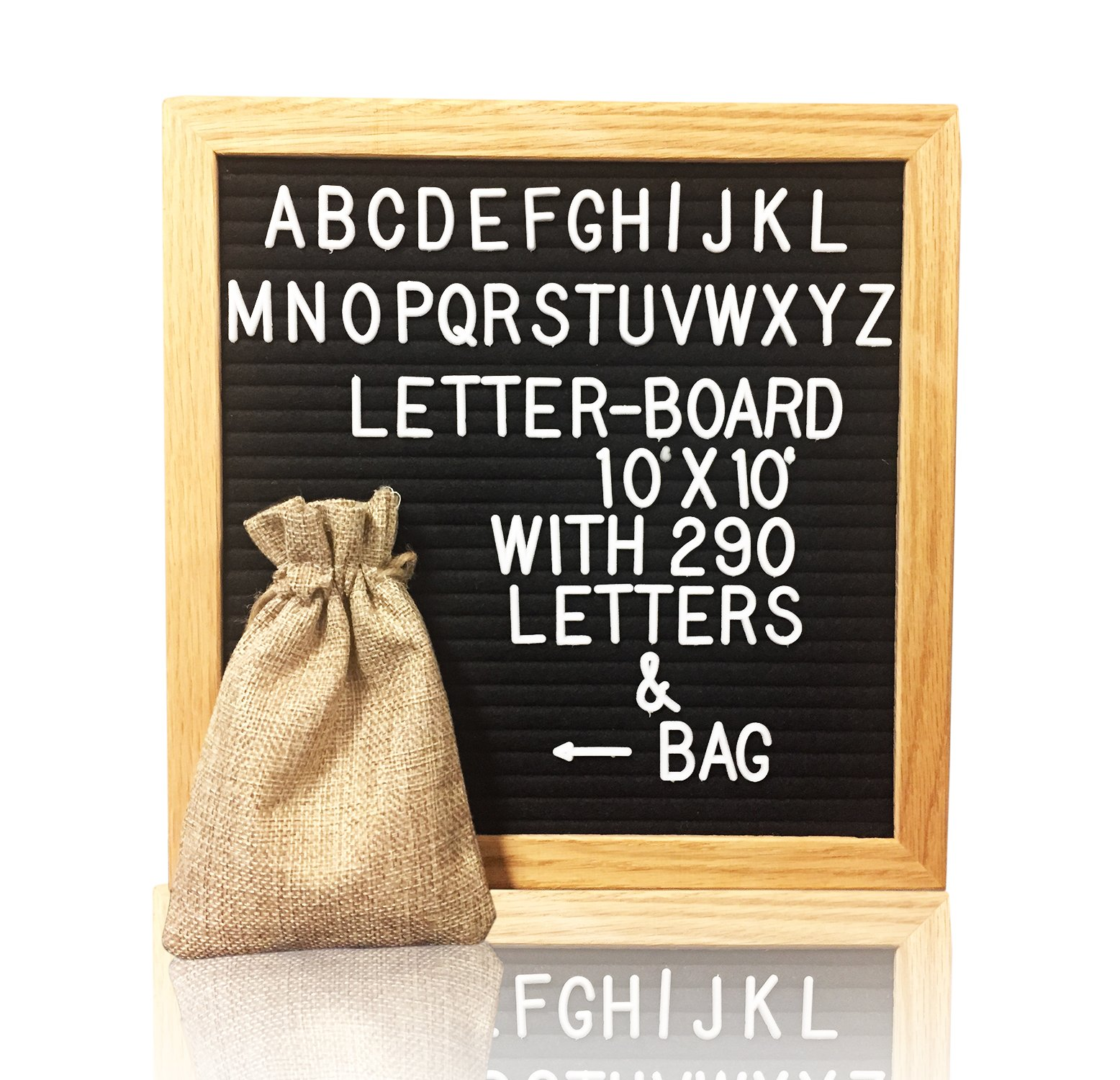 Letter Board 10''x10'' – Classic Oak Black Felt Letter Board with 290 Letters - Changeable Letter Board - Black Felt Board with White Letters & Canvas Bag 4''x6''
